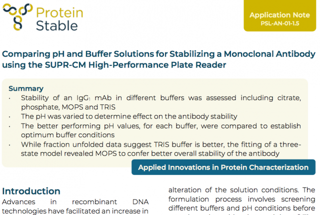 Application Note: Comparing pH and Buffer Solutions for Stabilizing a Monoclonal Antibody using the SUPR-CM High-Performance Plate Reader